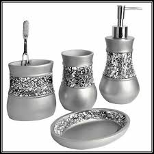 Crackle Glass Bathroom Accessories by Black Makeup Vanity With Lights Bathroom Decor