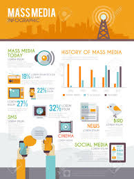 mass media infographic set with history and modern information