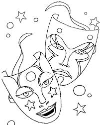 comedy tragedy mask mardi gras symbol coloring comedy