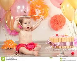 baby bday baby girl celebrates birthday one year stock photo image