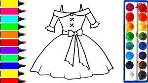 barbie dress coloring page drawing pretty dress learn colors