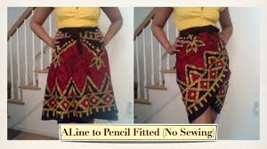 turn an a line wrap skirt into a fitted skirt without sewing