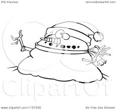 cartoon clipart of a black and white chubby christmas snowman