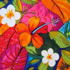 fabric bebel in multi brights tropical hibiscus hawaiian
