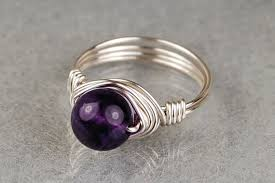 round wire rings images Sterling silver wire wrapped ring with round amethyst gemstone jpg