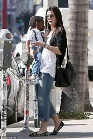 Sandra Bullock Wardrobe Blind Side Sandra Bullock Totes Her Two Year Old Son Louis To The Barber