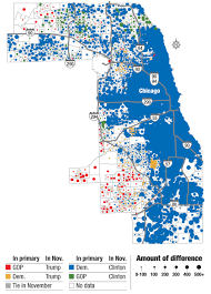 Chicago Neighborhood Crime Map by Mapping The Suburban Vote For Trump Clinton