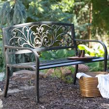 Metal Garden Furniture Mixed Material Benches Metal U0026 Wood Backyard U0026 Garden Hayneedle