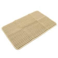 Yellow Striped Rug 60x40cm Bathroom Absorbent Anti Slip Floor Mat Linen Carpet Stripe