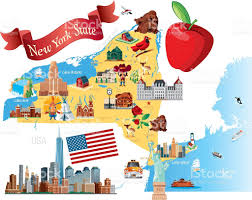 Albany New York Map by Cartoon Map Of New York State Stock Vector Art 472362983 Istock