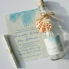 wedding invitations in a bottle wedding invitations painted palm fronds glass bottles