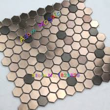 hexagon mosaie tile copper tiles backsplash metal mosaic kitchen wall tiles materials jpg