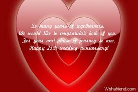 wedding msg 25th anniversary messages