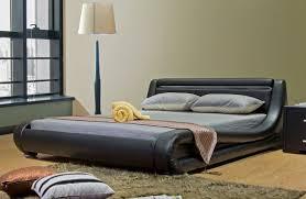 Black Leather Platform Bed Luchi Platform Bed With Led Light