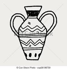 Vase Drawing Clipart Vector Of African Vase Doodle Csp28198759 Search