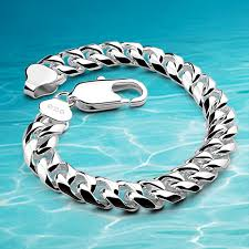 man silver link bracelet images Men fashion bracelet cuban silver bracelet new 925 sterling jpg