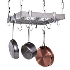 lighted hanging pot racks kitchen stainless steel square hanging pot rack hayneedle