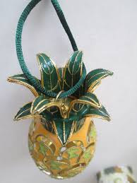 pineapple christmas tree ornament aloha hawaii hand painted enamel