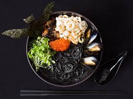 seafood ramen with squid ink mussels and salmon roe recipe