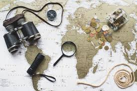 map travel world map background with travel items photo free