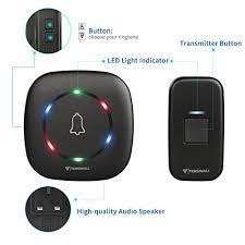 wireless doorbell system with light indicator wireless doorbell by tenswall 2nd version ip55 waterproof door bell