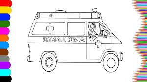 how to coloring ambulance name and sound learning coloring