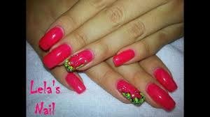 neon bright coral with flowers gel nail art tutorial youtube