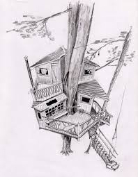 simple tree house sketch design coloring page view larger image