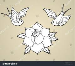 oldschool styled tattoo outline swallows rose stock vector