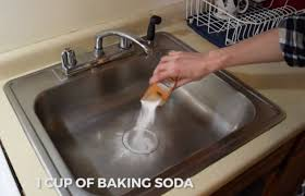 How To Clean A Sink With Baking Soda And Vinegar - Cleaning kitchen sink with baking soda
