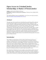 open access to criminal justice scholarship a matter of social