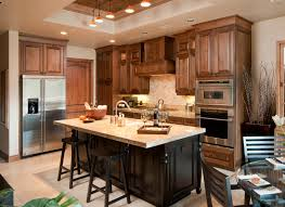 cherry kitchen cabinets with black island topped island commands