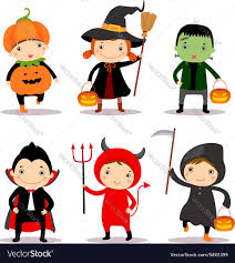 kids halloween cartoon cute kids wearing halloween costumes royalty free vector