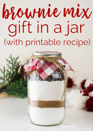 brownie mix in a jar with free printable recipe card