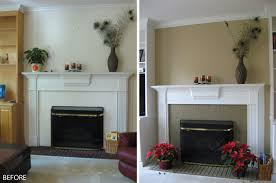 Living Room Design Brick Fireplace Amusing Before And After White Mantel Painted Fireplace And Grey