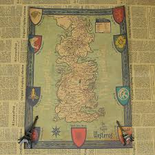 Game Of Thrones Map Of The World by Retro Kraft Game Of Thrones Map Movie Poster Wall Art Crafts