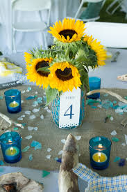 table centerpieces with sunflowers nautical at home wedding by kristin moore sunflower centerpieces