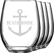 chic beach house wine glasses stemless set of 4 youcustomizeit