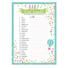 unisex baby shower 24 x sheets baby shower word scramble party unisex baby