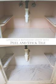 installing peel and stick tile underneath a bathroom sink