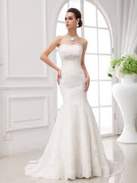 all over lace strapless trumpet designer wedding dress lunss couture