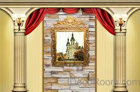 Roman Home Decor 3d Castle Painting Roman Pillars Wall Paper Wallpaper Wall Decals