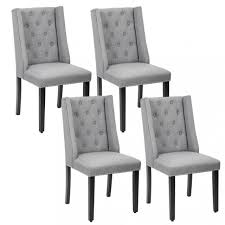 set of 4 grey elegant dining side chairs button tufted fabric w