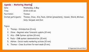 Marketing Meeting Agenda Template by 7 How To Write Agenda Riobrazil Blog