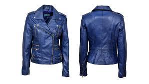 blue motorcycle jacket buy stylish blue leather jacket for women leather hits