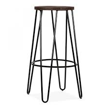 Metal Bar Stools With Wood Seat Hairpin Bar Stool With Wood Seat Option Black 76cm Cult