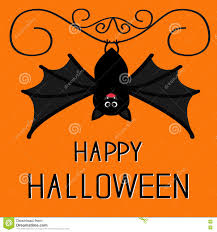 Happy Halloween Card Cute Hanging Bat Cartoon Character Stock