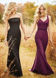 strapless black floor length dupioni slim trumpet bridesmaid gown
