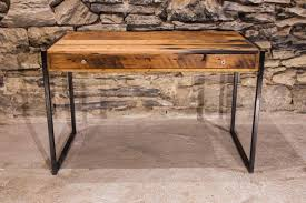 reclaimed wood writing desk la bohème designer metal and reclaimed wood writing desk with