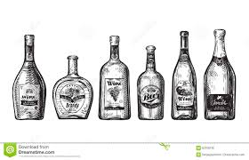 hand drawn set bottles for bar alcoholic beverages drink such as